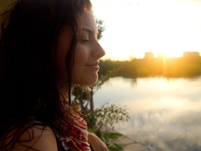 Meditating over sunset